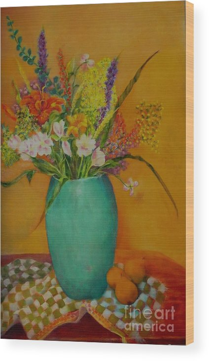 Wildflowers. Blue Wood Print featuring the painting Wildflowers and Blue Vase      copyrighted by Kathleen Hoekstra