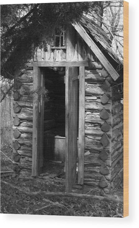 Ansel Adams Wood Print featuring the photograph Winslow log outhouse by Curtis J Neeley Jr