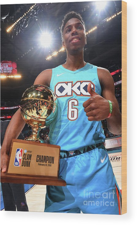 Nba Pro Basketball Wood Print featuring the photograph 2019 At&t Slam Dunk Contest by Andrew D. Bernstein