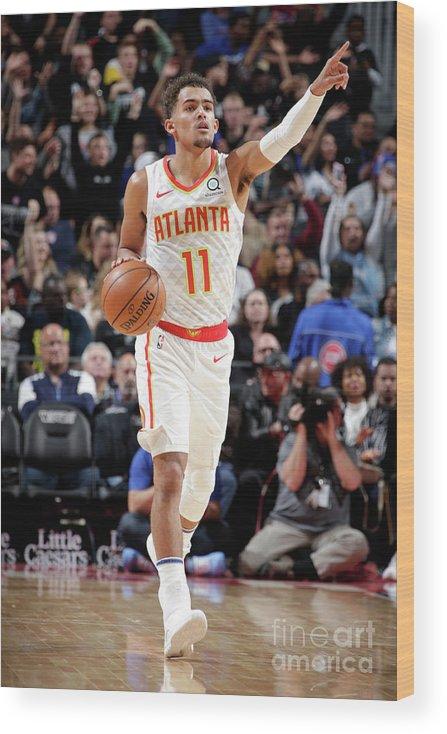 Nba Pro Basketball Wood Print featuring the photograph Atlanta Hawks V Detroit Pistons by Brian Sevald