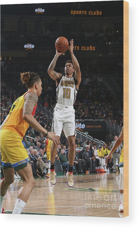 Nba Pro Basketball Wood Print featuring the photograph Atlanta Hawks V Milwaukee Bucks by Gary Dineen
