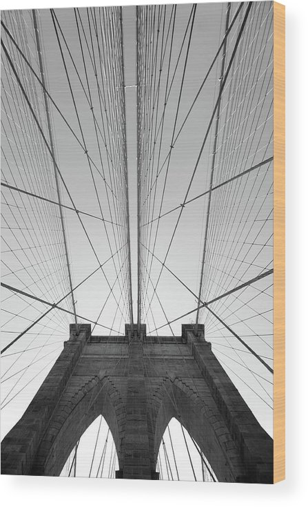 Arch Wood Print featuring the photograph Brooklyn Bridge by Jimschemel
