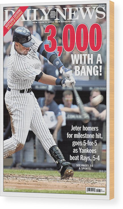 American League Baseball Wood Print featuring the photograph Daily News Front Page Derek Jeter by New York Daily News