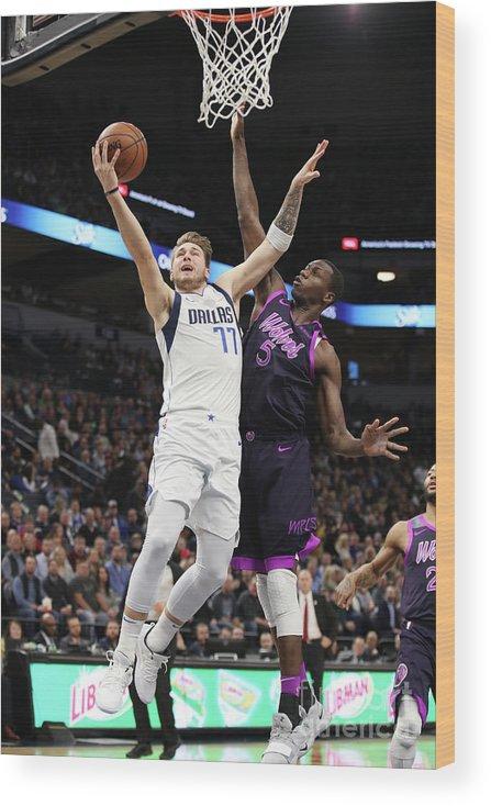 Nba Pro Basketball Wood Print featuring the photograph Dallas Mavericks V Minnesota by Jordan Johnson