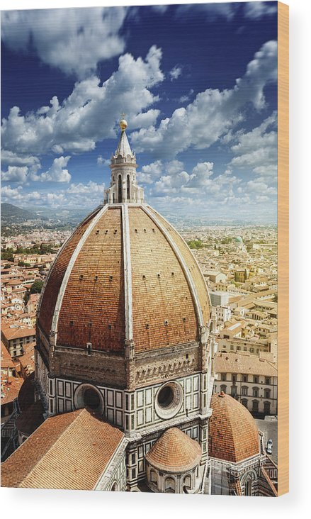 Scenics Wood Print featuring the photograph Duomo In Florence by Da-kuk