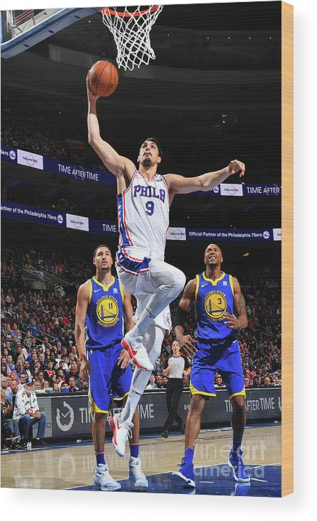 Nba Pro Basketball Wood Print featuring the photograph Golden State Warriors V Philadelphia by Jesse D. Garrabrant