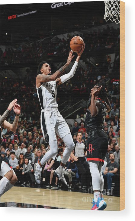Nba Pro Basketball Wood Print featuring the photograph Houston Rockets V San Antonio Spurs by Logan Riely