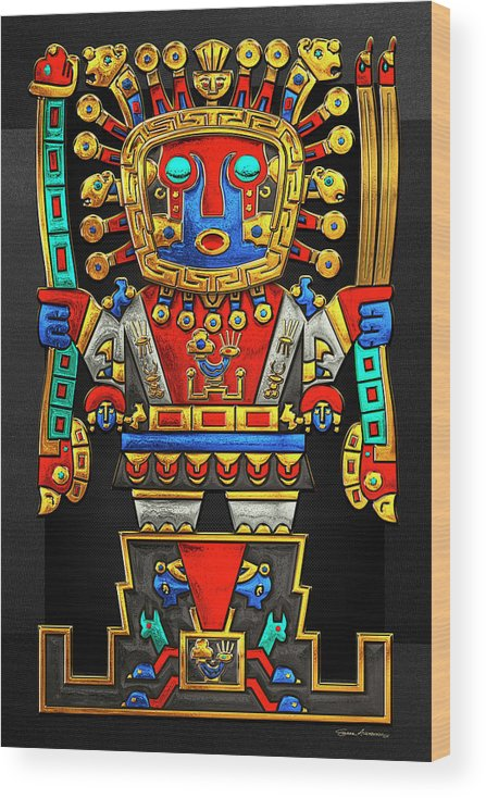 'treasures Of Pre-columbian America' Collection By Serge Averbukh Wood Print featuring the photograph Incan Gods - The Great Creator Viracocha on Black Canvas by Serge Averbukh