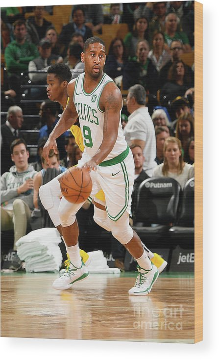Nba Pro Basketball Wood Print featuring the photograph Indiana Pacers V Boston Celtics by Steve Babineau
