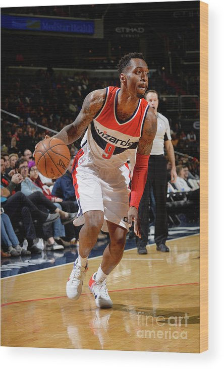 Nba Pro Basketball Wood Print featuring the photograph Indiana Pacers V Washington Wizards by David Dow