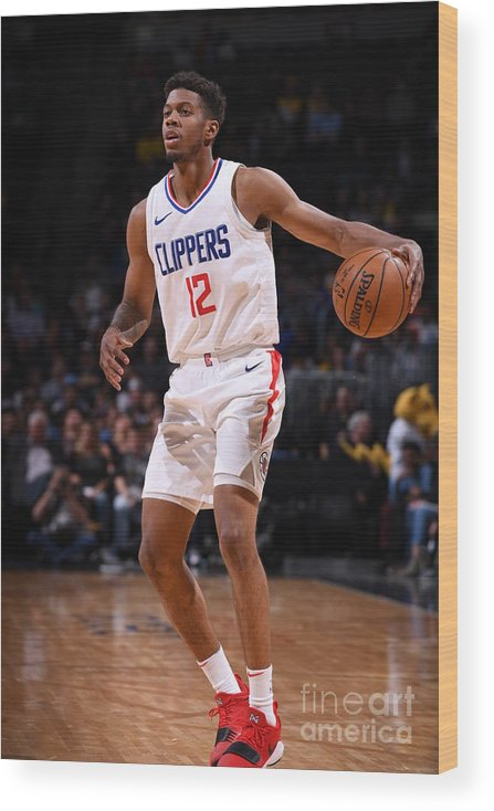 Nba Pro Basketball Wood Print featuring the photograph La Clippers V Denver Nuggets by Garrett Ellwood