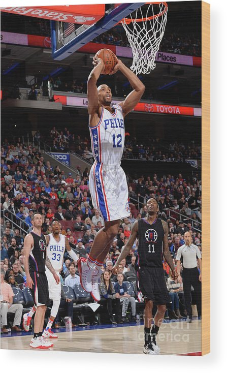 Nba Pro Basketball Wood Print featuring the photograph La Clippers V Philadelphia 76ers by David Dow