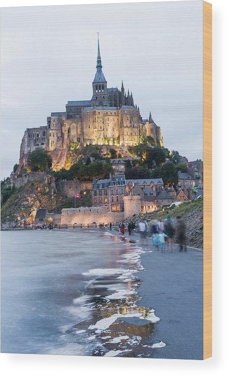 Mont Saint-michel Wood Print featuring the photograph Le Mont Saint Michel, Normandy, France by John Harper