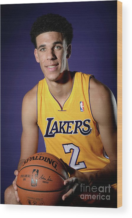 Following Wood Print featuring the photograph Los Angeles Lakers Introduce Lonzo Ball by Andrew D. Bernstein
