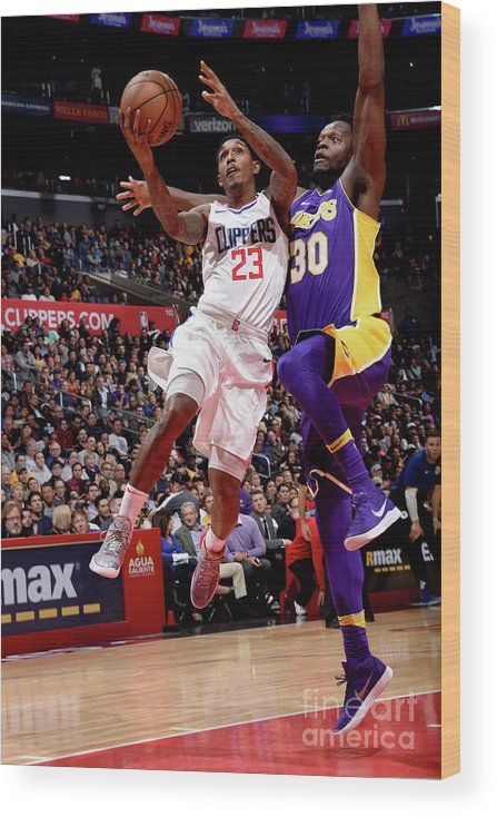Nba Pro Basketball Wood Print featuring the photograph Los Angeles Lakers V La Clippers by Andrew D. Bernstein