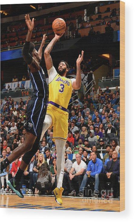 Nba Pro Basketball Wood Print featuring the photograph Los Angeles Lakers V Orlando Magic by Gary Bassing