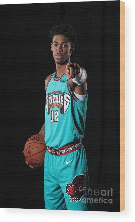 Nba Pro Basketball Wood Print featuring the photograph Memphis Grizzlies Portrait Shoot In by Joe Murphy