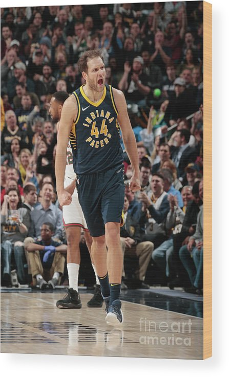 Nba Pro Basketball Wood Print featuring the photograph Milwaukee Bucks V Indiana Pacers by Ron Hoskins