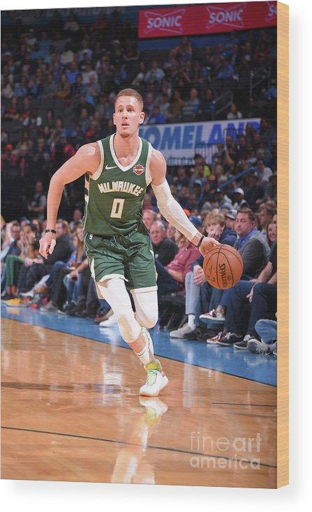 Nba Pro Basketball Wood Print featuring the photograph Milwaukee Bucks V Oklahoma City Thunder by Bill Baptist