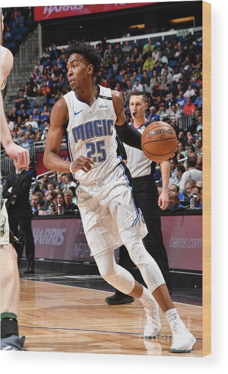 Nba Pro Basketball Wood Print featuring the photograph Milwaukee Bucks V Orlando Magic by Fernando Medina