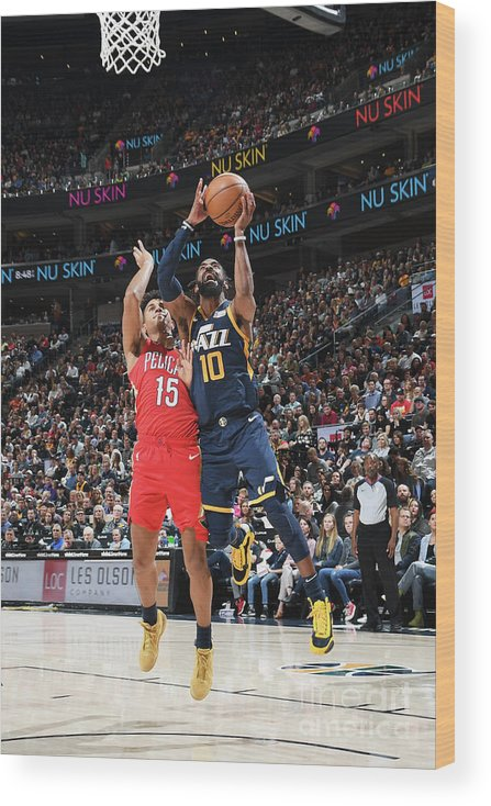 Nba Pro Basketball Wood Print featuring the photograph New Orleans Pelicans V Utah Jazz by Noah Graham