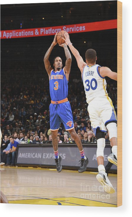Nbaps Wood Print featuring the photograph New York Knicks V Golden State Warriors by Andrew D. Bernstein