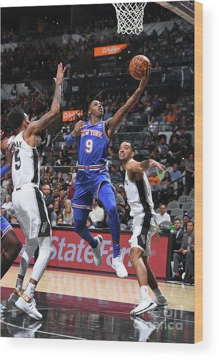 Nba Pro Basketball Wood Print featuring the photograph New York Knicks V San Antonio Spurs by Garrett Ellwood