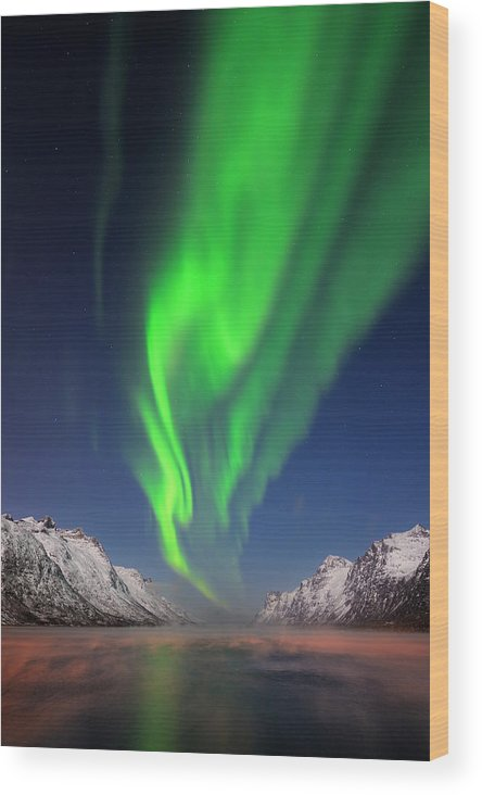 Scenics Wood Print featuring the photograph Northern Lights Aurora Borealis At A by Martin Ruegner