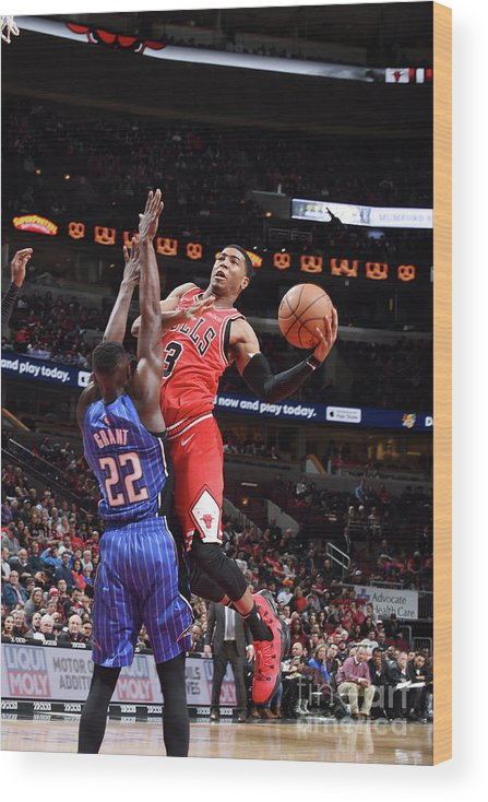 Nba Pro Basketball Wood Print featuring the photograph Orlando Magic V Chicago Bulls by Randy Belice