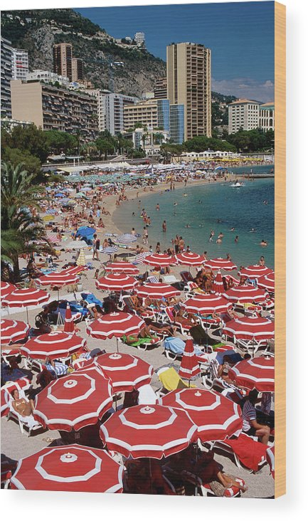 Shadow Wood Print featuring the photograph Overhead Of Red Sun Umbrellas At by Dallas Stribley