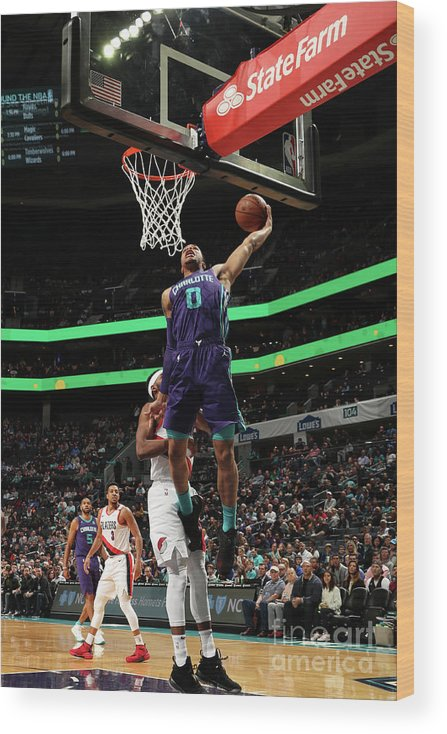 Nba Pro Basketball Wood Print featuring the photograph Portland Trail Blazers V Charlotte by Brock Williams-smith
