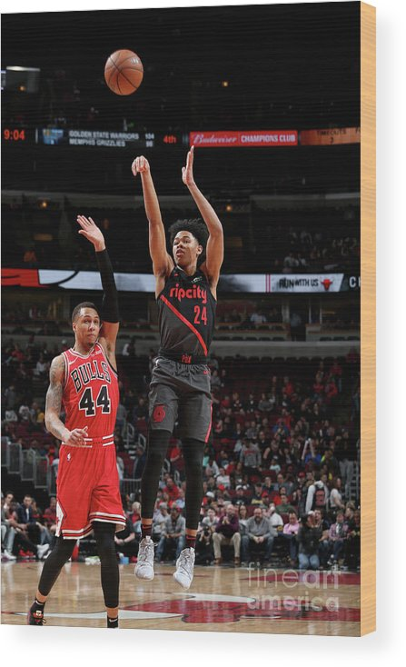 Nba Pro Basketball Wood Print featuring the photograph Portland Trail Blazers V Chicago Bulls by Gary Dineen