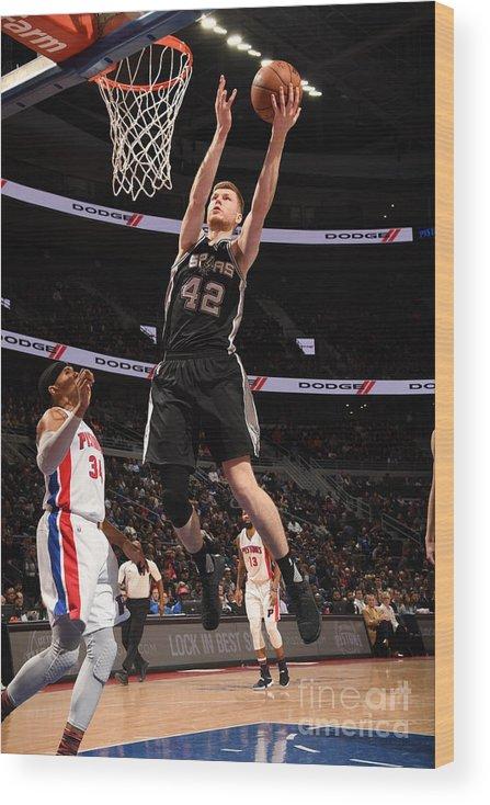 Nba Pro Basketball Wood Print featuring the photograph San Antonio Spurs V Detroit Pistons by Chris Schwegler