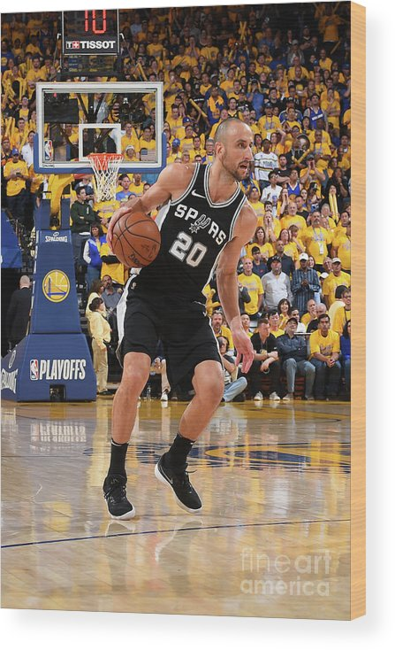 Playoffs Wood Print featuring the photograph San Antonio Spurs V Golden State by Andrew D. Bernstein