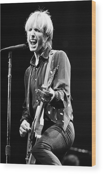 Singer Wood Print featuring the photograph Singer Tom Petty Performs In Concert by George Rose