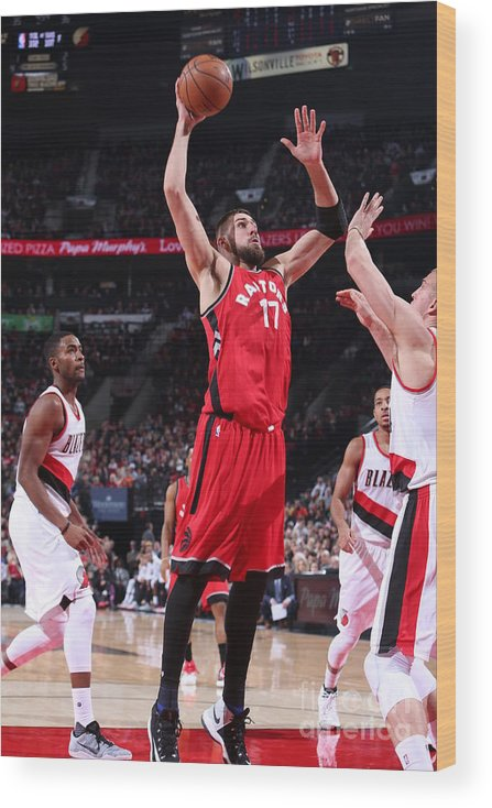 Nba Pro Basketball Wood Print featuring the photograph Toronto Raptors V Portland Trail Blazers by Sam Forencich