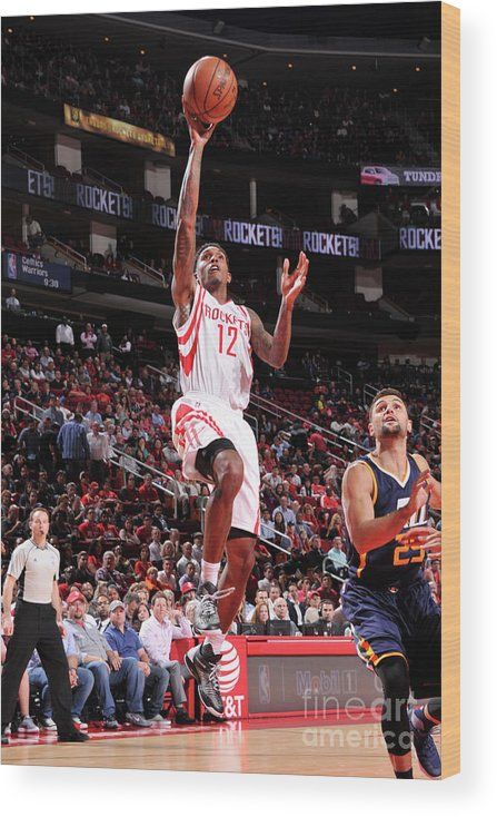 Nba Pro Basketball Wood Print featuring the photograph Utah Jazz V Houston Rockets by Bill Baptist