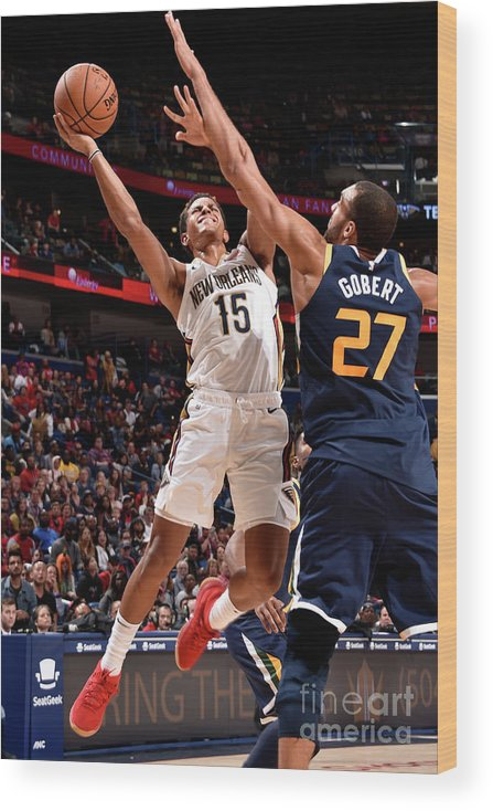 Smoothie King Center Wood Print featuring the photograph Utah Jazz V New Orleans Pelicans by Bill Baptist