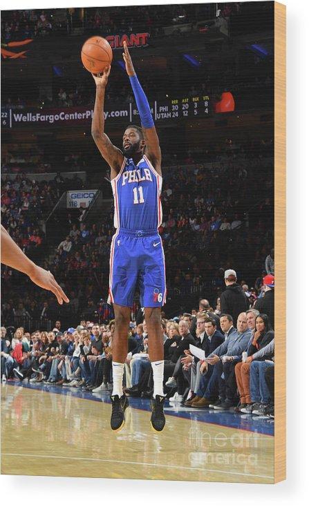 Nba Pro Basketball Wood Print featuring the photograph Utah Jazz V Philadelphia 76ers by Jesse D. Garrabrant