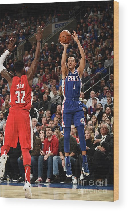 Nba Pro Basketball Wood Print featuring the photograph Washington Wizards V Philadelphia 76ers by David Dow