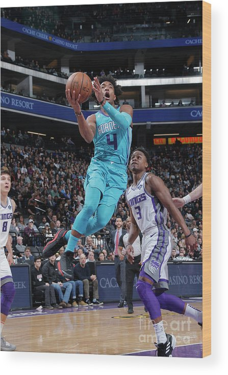 Nba Pro Basketball Wood Print featuring the photograph Charlotte Hornets V Sacramento Kings by Rocky Widner