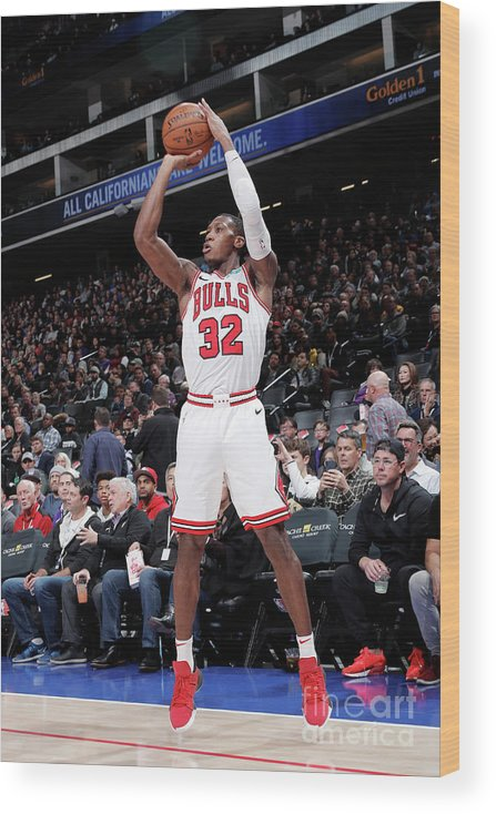 Chicago Bulls Wood Print featuring the photograph Chicago Bulls V Sacramento Kings by Rocky Widner