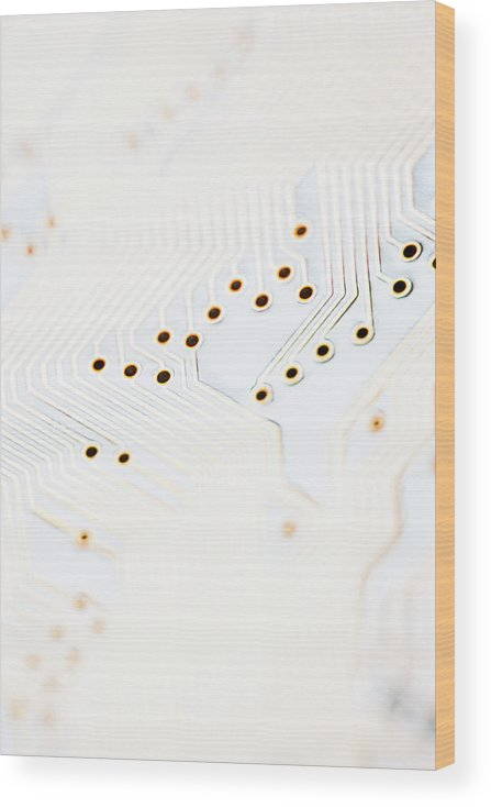 Electrical Component Wood Print featuring the photograph Close-up Of A Circuit Board by Nicholas Rigg