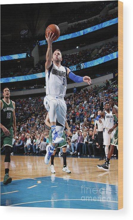 Nba Pro Basketball Wood Print featuring the photograph Milwaukee Bucks V Dallas Mavericks by Glenn James