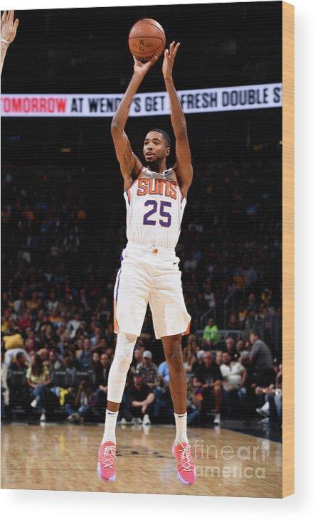 Nba Pro Basketball Wood Print featuring the photograph Phoenix Suns V Denver Nuggets by Garrett Ellwood