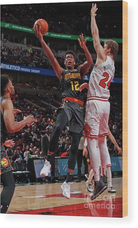 De'andre Hunter Wood Print featuring the photograph Atlanta Hawks V Chicago Bulls by Jeff Haynes