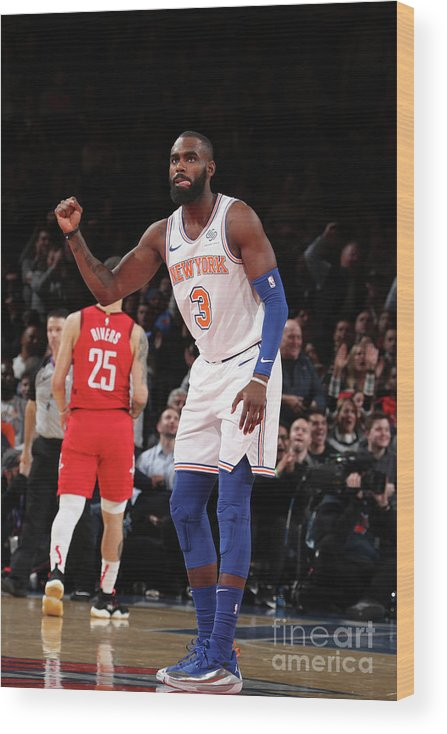 Tim Hardaway Jr. Wood Print featuring the photograph Houston Rockets V New York Knicks by Nathaniel S. Butler