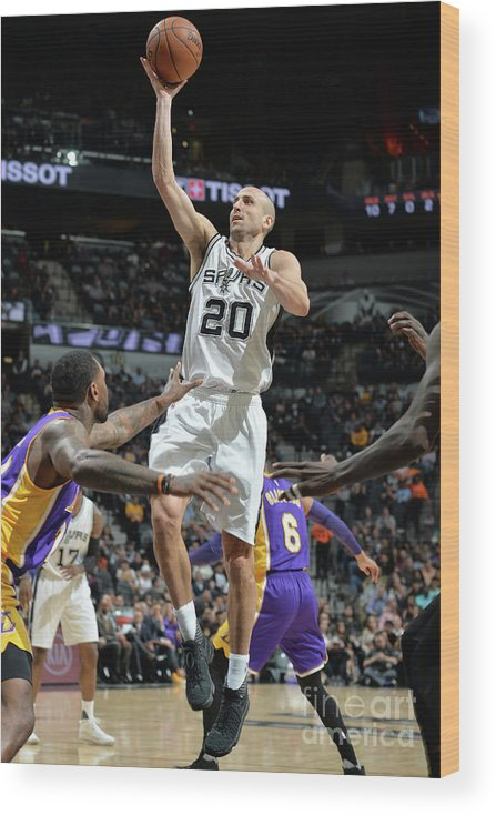 Nba Pro Basketball Wood Print featuring the photograph Los Angeles Lakers V San Antonio Spurs by Mark Sobhani