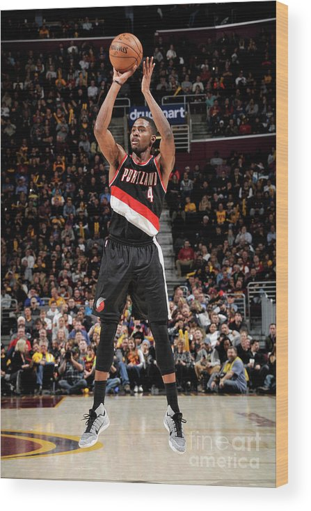 Moe Harkless Wood Print featuring the photograph Portland Trail Blazers V Cleveland by David Liam Kyle