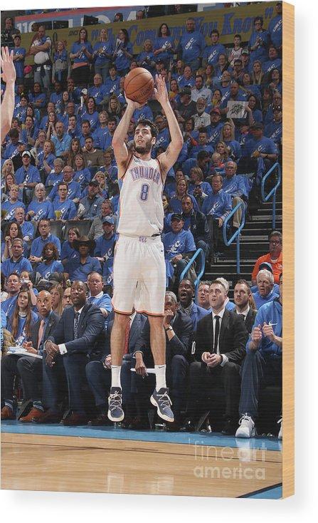 Playoffs Wood Print featuring the photograph Utah Jazz V Oklahoma City Thunder - by Layne Murdoch